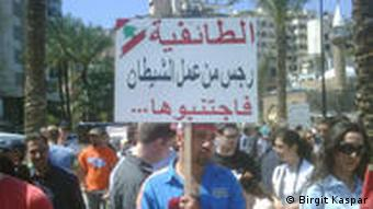 Demonstrant in Beirut, Foto: Birgit Kaspar