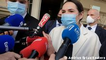 Sviatlana Tsikhanouskaya speaks to press in Vilnius (Andrius Sytas/Reuters)