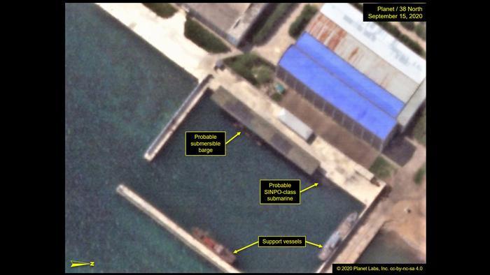Satellite image of the Sinpo harbor basin in North Korea