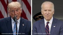 USA Bildkombo der amerikanischen Präsidentschaftskandidaten Biden und Trump