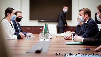 Светлана Тихановская на встрече с президентом Франции Эмманюэлем Макроном в Вильнюсе