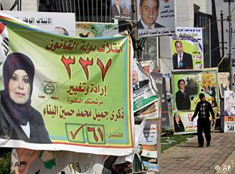 Election campaign posters for many candidates are seen along a street in Baghdad, Iraq.