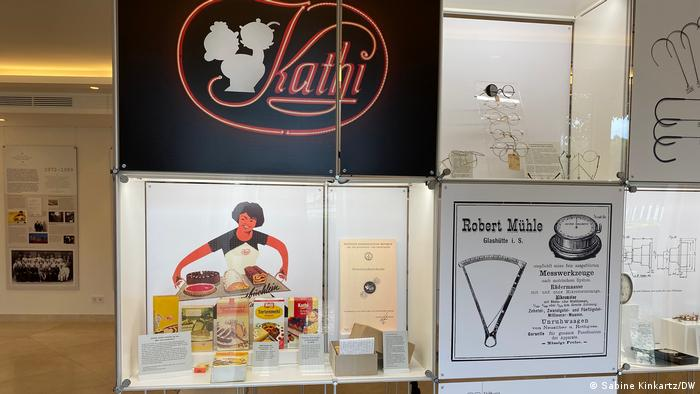 A picture showing historic exhibits from the Kathi family business, including baking mixes dating back to the 1960s