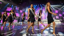 Contestants walk the catwalk during a 2019 Miss Venezuela beauty contest rehearsal, in Caracas, Venezuela on July 30, 2019. - For the first time, in the 2019 version of the Miss Venezuela contest, which will be held on Thursday, it won't be mentioned waist, hip and bust measurements of the candidates to avoid female gender stereotypes, the organization said. (Photo by Federico PARRA / AFP) (Photo credit should read FEDERICO PARRA/AFP via Getty Images)
