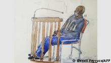 Ruanda Zeichnung von dem mutmaßlichen Straftäter Felicien Kabuga im Gerichtssaal