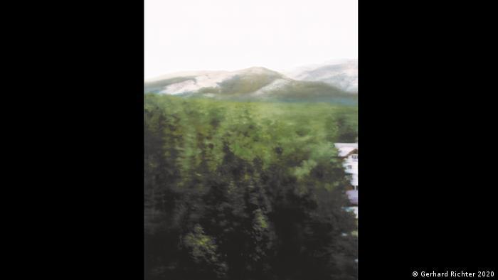 Gerhard Richters Gemälde Waldhaus zeigt einen Blick auf Wald und einen Berg (Gerhard Richter 2020)