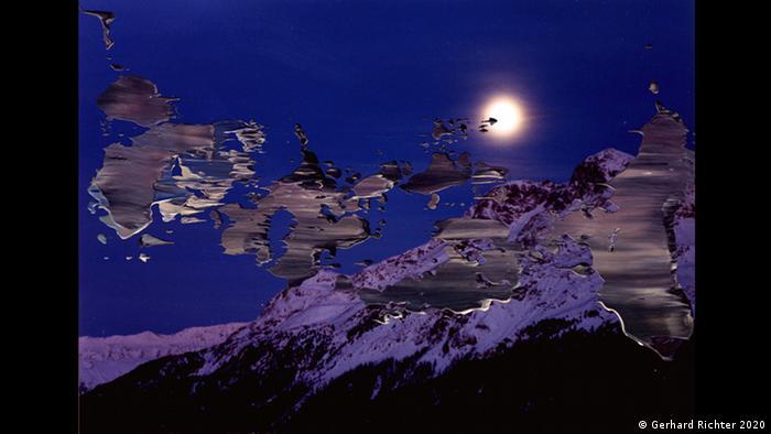 Eine Gebirgslandschaft zeigt dieses von Gerhard Richter übermalte Foto, zu sehen im Kunstforum Wien (Gerhard Richter 2020)