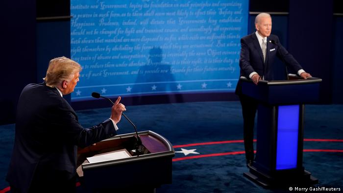 U.S. President Donald Trump and Democratic presidential nominee Joe Biden participate in their first 2020 presidential campaign debate