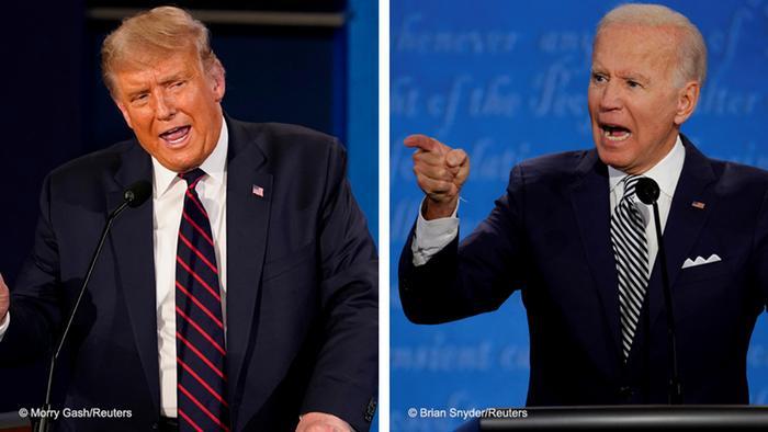 Kombobild Präsidentschaftswahlen TV Debatte Trump Biden