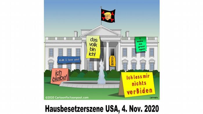 Poster Das Volk bin ich, Ich lass mir nichts verBiden oder Ich bliebe stehen vor dem Weißen Haus (Karikatur von Cartoonfix)