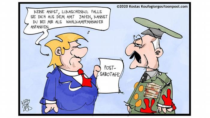 Donald Trump bietet Lukaschenko einen Job als Wahlkampfmanager an (Karikatur von Kostas Koufogiorgos)
