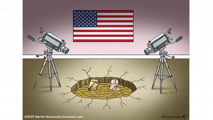 Trump und Biden, watched by TV cameras, are sunk in a mud pit at center stage (caricature by Marian Kamensky)