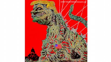 Donald Trump als Godzilla against a red background (caricature by Takeshi Kishino)