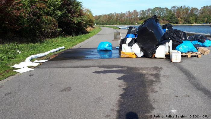 A pile of illegal rubbish on a road