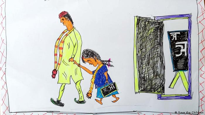 Hindistan'da bir çocuğun zorla evlilikle ilgili yaptığı bir resim