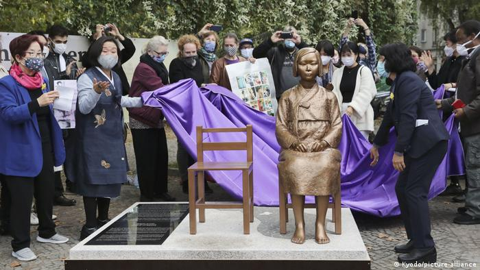 A statue symbolizing the issue of so-called comfort women forced to work in Japanese wartime brothels is unveiled in Berlin on September 28, 2020