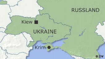 Ukraine mit der Krim und Russland (Grafik: DW)