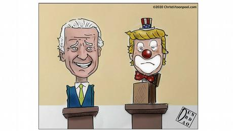 a bust of Joe Biden next to one of a clown (caricature by Christi)