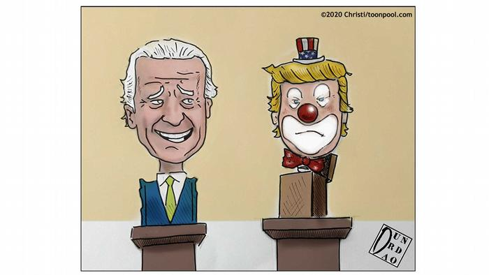 A bust of Joe Biden next to one of Trump with clown makeup (caricature by Christi)