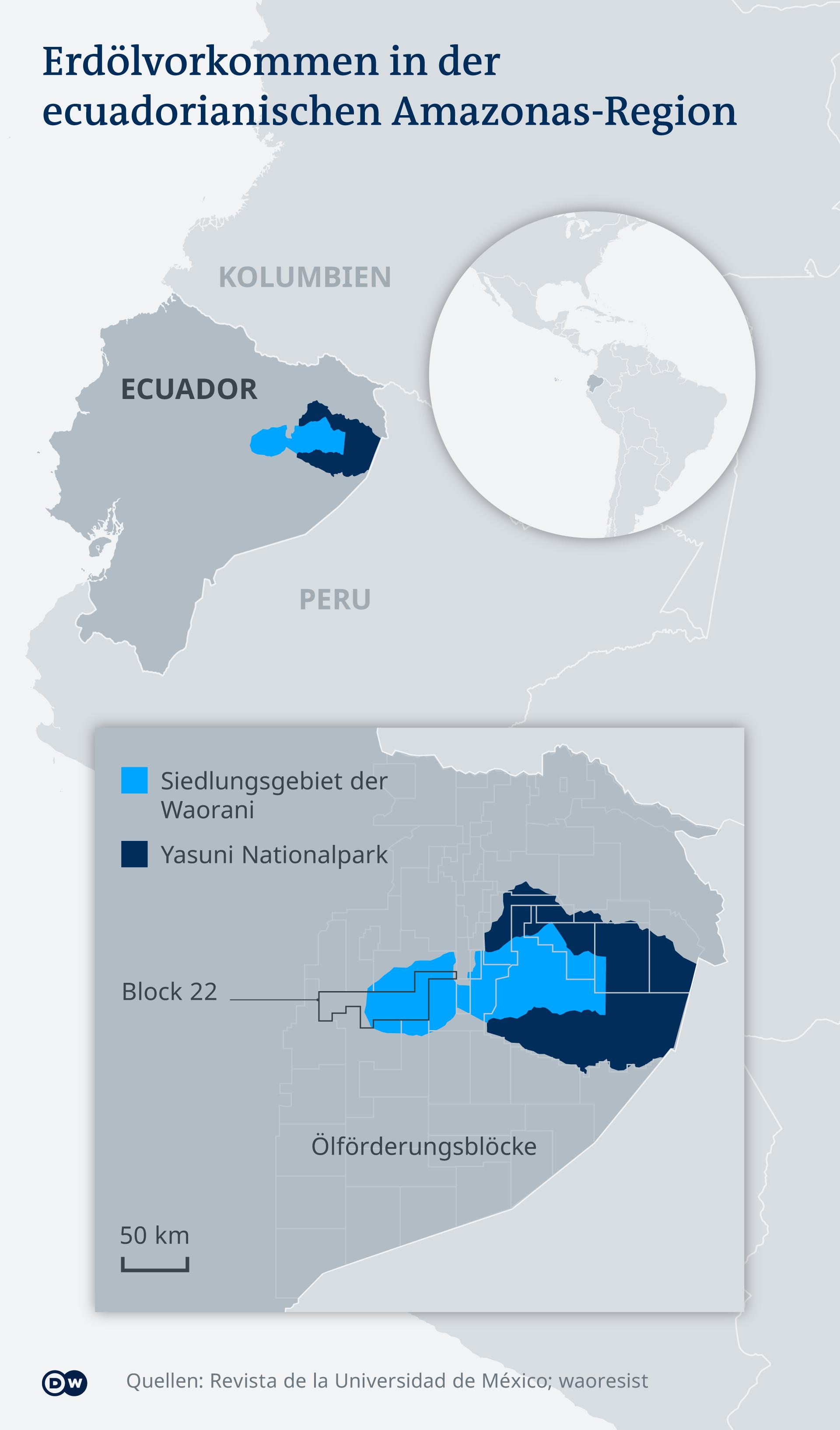 Infografik Karte Ölförderung Ecuador Amazonas DE