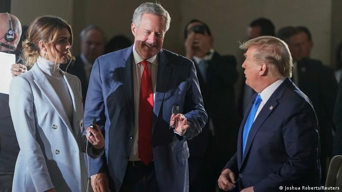 USA Hope Hicks, Mark Meadows und Donald Trump (Joshua Roberts/Reuters)
