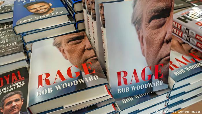 The book 'Rage' by Bob Woodward on a display table