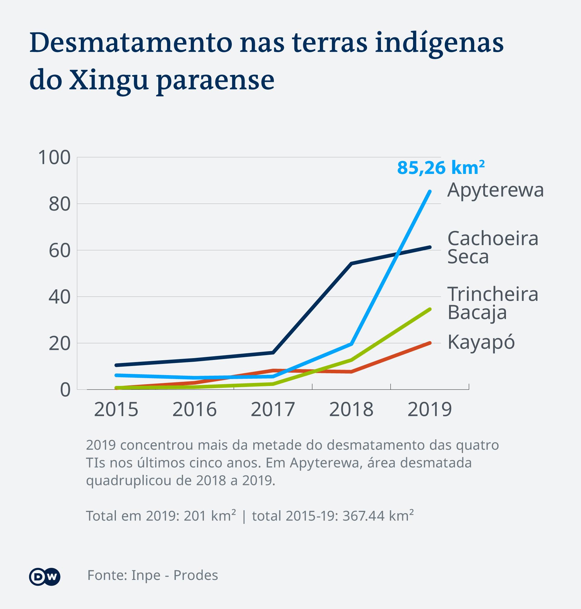 Infografik Abholzungen in indigenen Gebieten PT