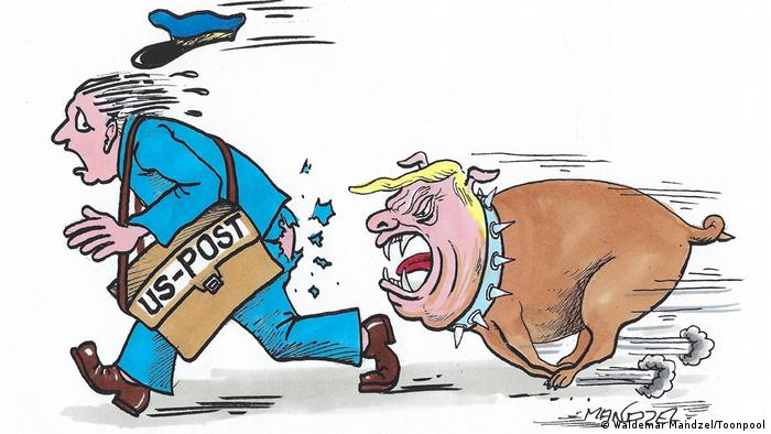 Donald Trump, clad as an attack dog, chases a harried mailman (caricature by Waldemar Mandzel/Toonpool)
