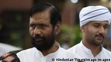 NEW DELHI, INDIA - AUGUST 7: Ramvilas Paswan with son Chirag talking to media persons as they leave after paying last respects to former Minister of External Affairs Sushma Swaraj at her residence at Jantar Mantar on August 7, 2019 in New Delhi, India. Swaraj, who was India÷s first full-time woman foreign minister (Indira Gandhi held additional charge of the ministry when she was prime minister) suffered the cardiac arrest late in the evening and was immediately taken to the All India Institute of Medical Sciences (AIIMS). She died after efforts to revive her failed. (Photo by Vipin Kumar/Hindustan Times) Former Foreign Minister Sushma Swaraj Paases Away After Heart attack PUBLICATIONxNOTxINxIND