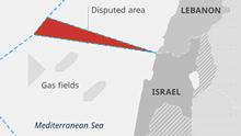 Infografik Karte umstrittene Meeresgrenze Israel Libanon EN