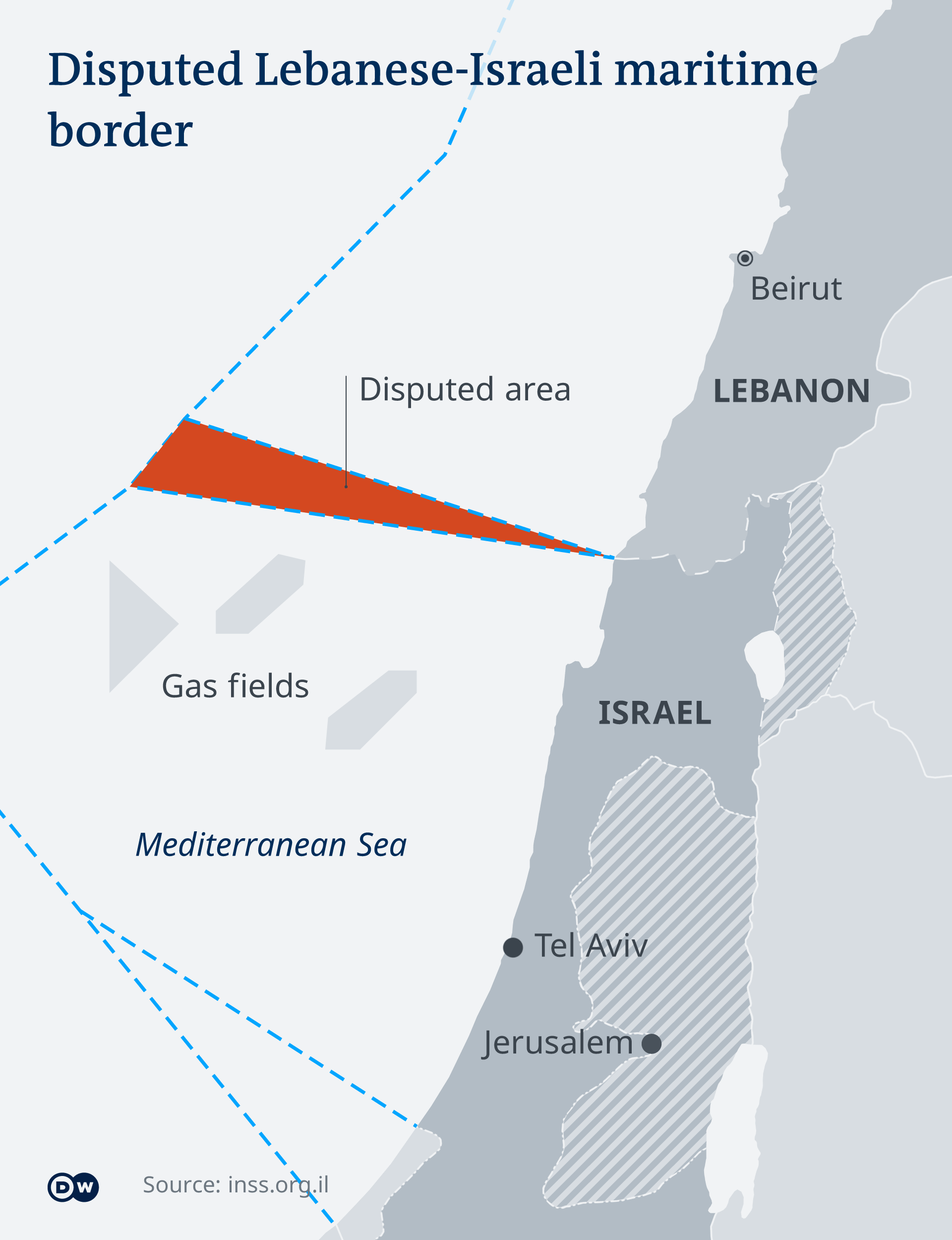 Map showing the disputed wedge of sea coming out of Lebanon's southern border