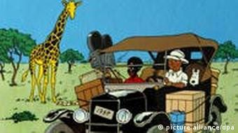 Tintin in the Congo comic scene, Copyright: dpa
