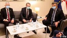 Balkan Bakir Izetbegovic und der Vorsitzende der HDZ Bosnien Herzegowinas Dragan Čović im Gespräch mit dem Ministerpräsidenten Kroatiens Andrej Plenkovic