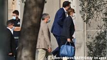 Head of the far-right Lega party and Italian senator, Matteo Salvini (2ndR) and his lawyer Giulia Bongiorno (R) arrive for a preliminary hearing at the Catania courthouse, Sicily, on October 3, 2020, facing charges over allegedly illegally detaining migrants at sea while he was a government minister in July 2019. (Photo by Alberto PIZZOLI / AFP) (Photo by ALBERTO PIZZOLI/AFP via Getty Images)