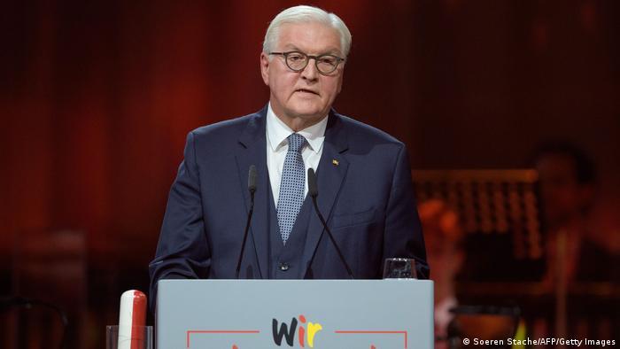Президент ФРГ Франк-Вальтер Штайнмайер на церемонии в Потсдаме