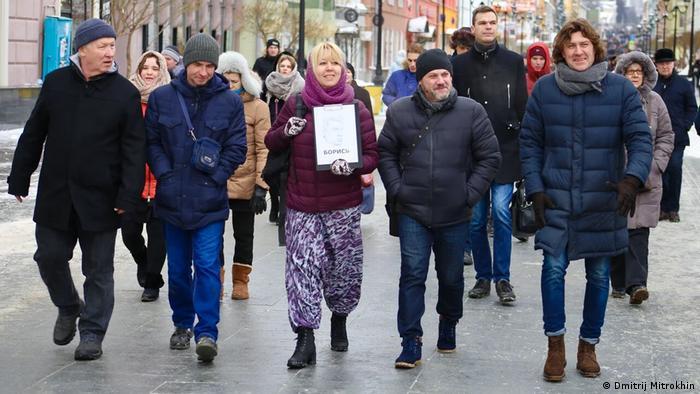 Ирина Славина на акции памяти Бориса Немцова в Нижнем Новгороде