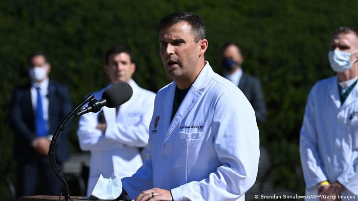 Pulmonologist Sean Dooley gives an update on the condition of US President Donald Trump, on October 3, 2020, at Walter Reed Medical Center in Bethesda, Maryland