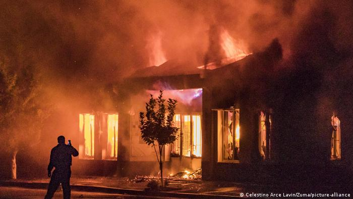 A burning house in Stepanakert