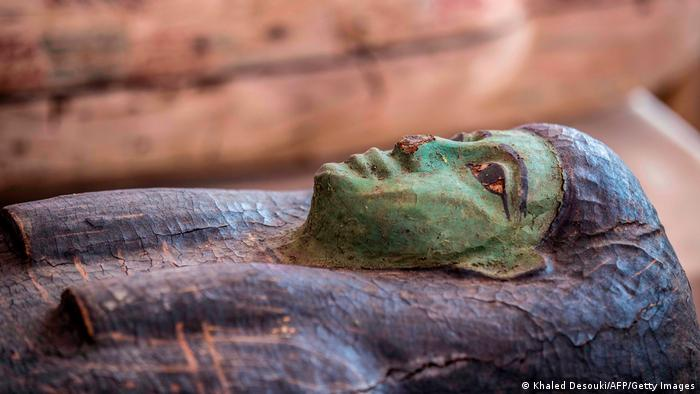 A green sarcophagus (Khaled Desouki/AFP/Getty Images)