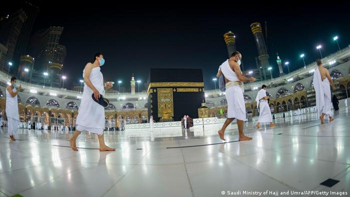 Saudis and foreign residents circumambulating in the Grand Mosque complex in the holy city of Mecca.