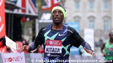 Virgin Money London Marathon - St James' Park. Ethiopia's Shura Kitata wins The Elite Men's Race during the Virgin Money London Marathon around St James' Park. Picture date: Sunday October 4, 2020. See PA story ATHLETICS Marathon. Photo credit should read: Richard Heathcoate/NMC Pool/PA Wire. RESTRICTIONS: Editorial use only. No commercial use. URN:55866115 |