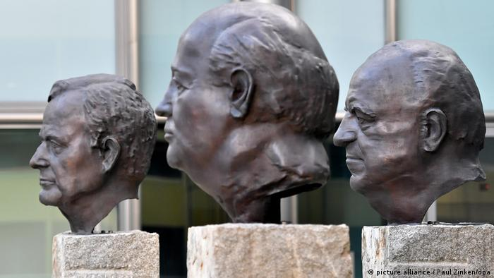 Bronze busts of George Bush (left), Mikhail Gorbachev (center) and Helmut Kohl