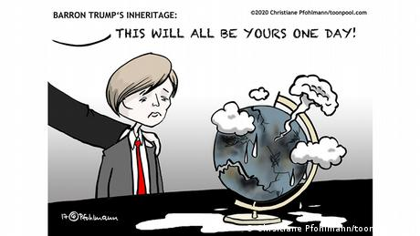 A sad looking boy glances at a wrecked globe with nuclear clouds as a man's hand rests on his shoulder, with a blurb saying, This will all be yours one day! (Chrsitiane Pfohlmann/toonpool.com)