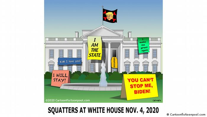 White House with a flag of Trump in front and signs reading I will stay!, KIM I love you!, I am the state, I make me great again and You can't stop me, Biden! (Cartoonfix/toonpool.com)