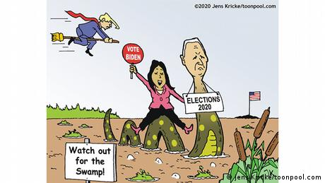 Biden and Harris ride a serpent through a muddly landscape with a sign in front: Watch out for the Swamp, while Trump rides a broomstick in the backgroiund. Far off in the distance: a tiny island holding a US flag (Jens Kricke)