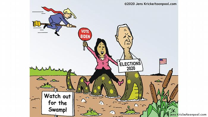 Biden and Harris ride a serpent through a muddy landscape with a sign in front: Watch out for the Swamp, while Trump rides a broomstick in the background. Far off in the distance: a tiny island holding a US flag (Jens Kricke)