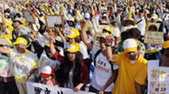 Thousands of protesters came out earlier this year to call for the US base on Okinawa to be shut