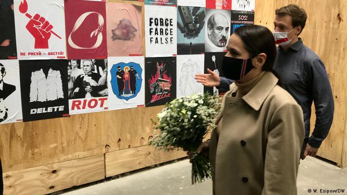Deutschland l Tichanowskaya besucht die Ausstellung Belarus. Art. Revolution