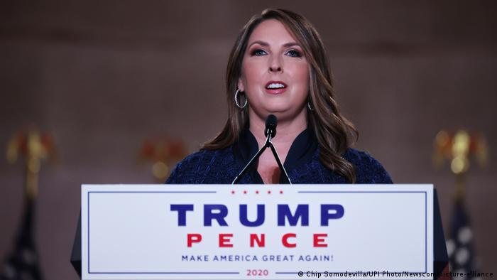 RNC Chairwoman Ronna McDaniel giving a speech at the 2020 National Convention