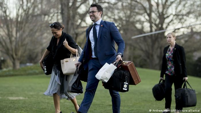 Nicholas Luna, assistant to the US president, walks down the White House lawn